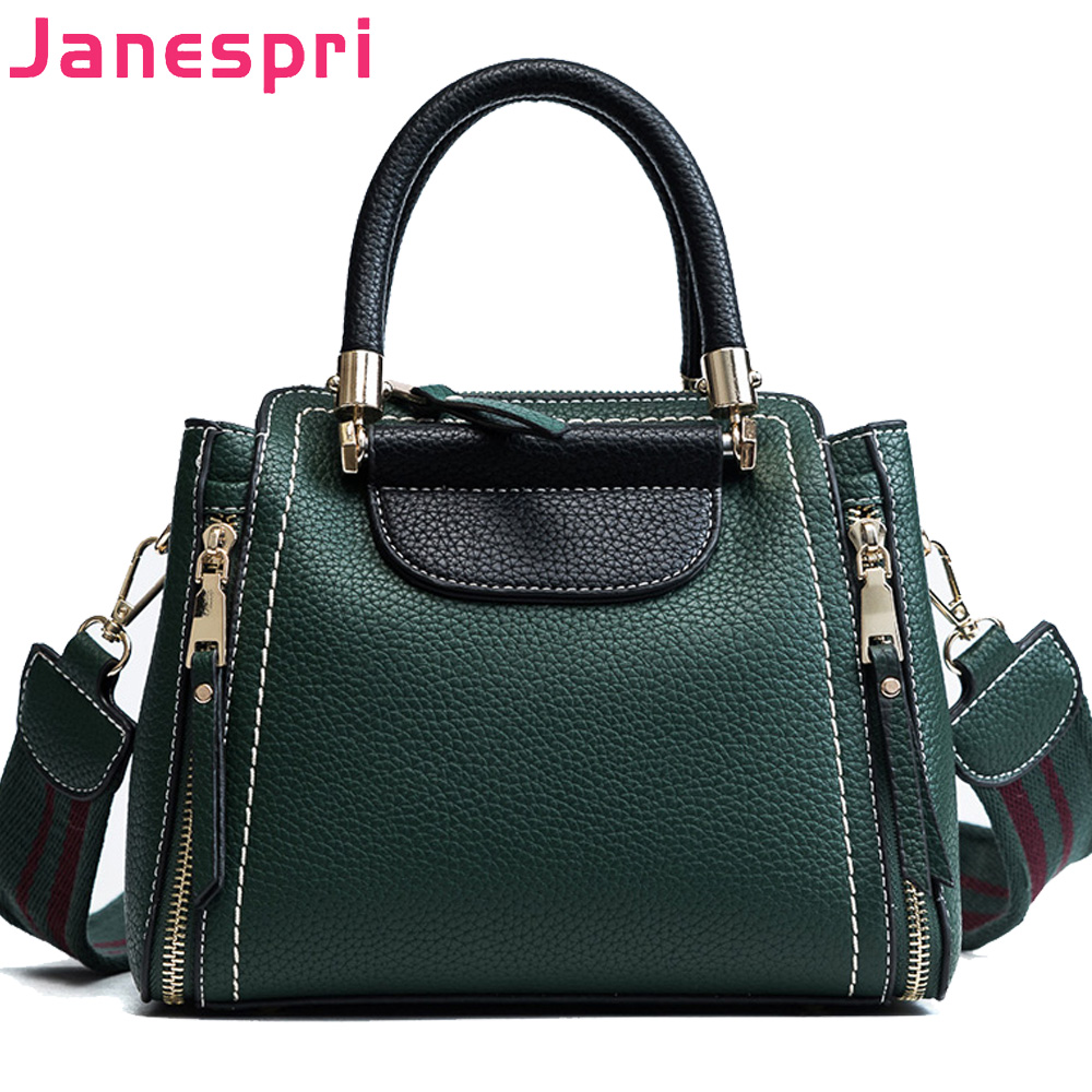 Janespri High Capacity Soft PU Leather Female Handbags Fashion Panelled Women Shoulder Bag Daily Women Casual Tote Messenger Bag in Shoulder Bags from Luggage Bags