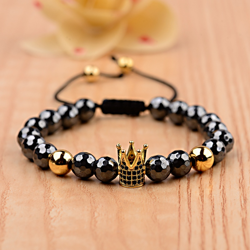 Amader Luxurious CZ Gold Crown 8mm Hematite Bracelet Men Handmade Elastic Braiding Bracelets For Women Dropshipping ABL014