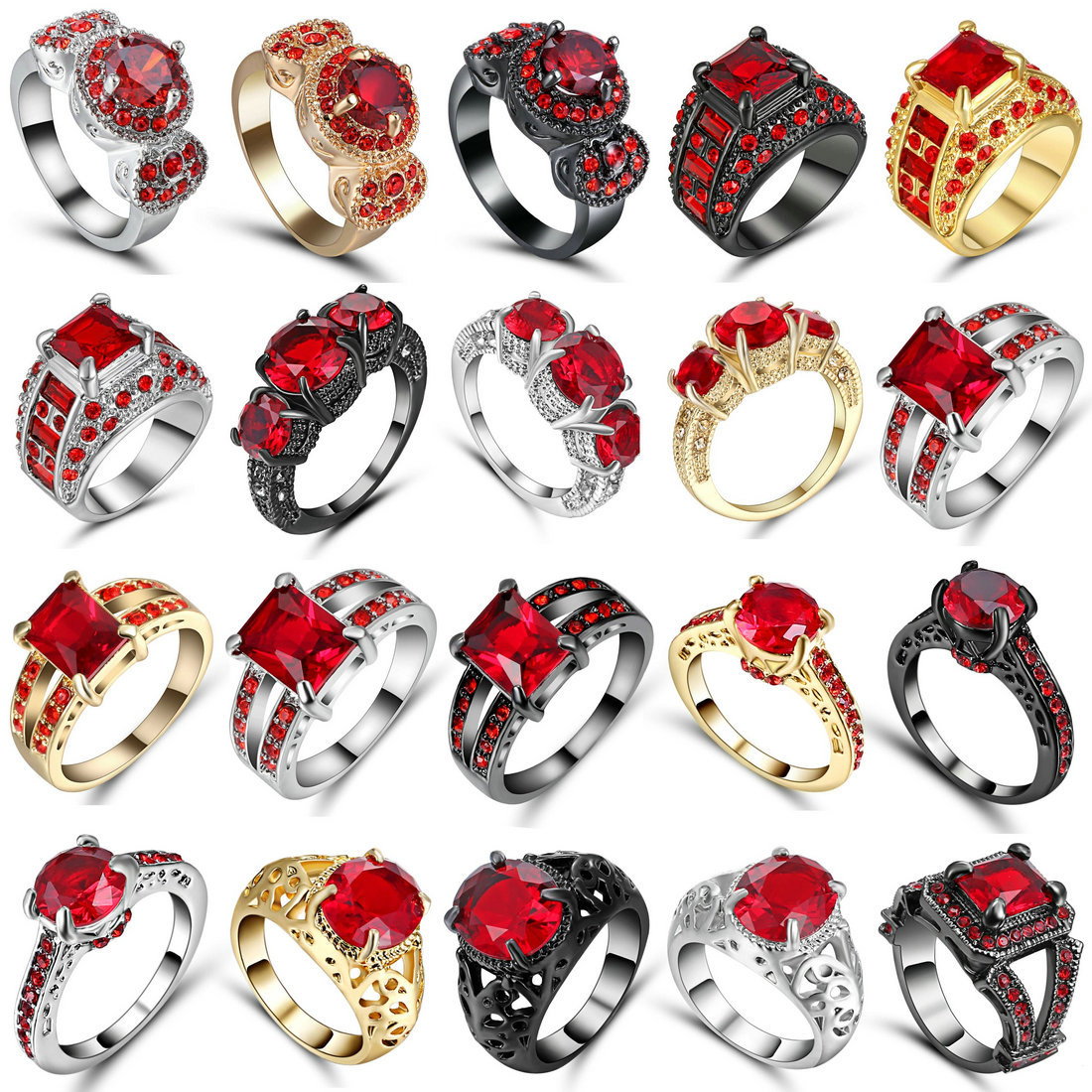 Female Red CZ Ring Fashion White & Black Gold Filled Jewelry Vintage Wedding Rings For Women Birthday Stone Gifts Size 6
