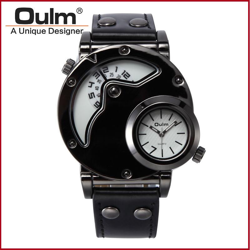 Prix pour Luxe Montres Hommes Top Qualité Marque Oulm 9591 Japon mouvement À Quartz Montre Militaire de L'armée Montres Homme Robe Relojes hombre