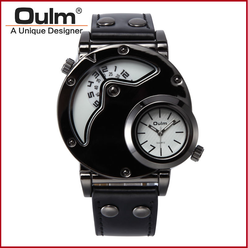 Luxury Watches Men Top Quality Brand Oulm 9591 Japan movement Quartz Watch Military Army Wristwatches Male Dress Relojes hombre oulm men dual movt big dial japan luxury military watches men stainless steel strap wristwatches male golden clock