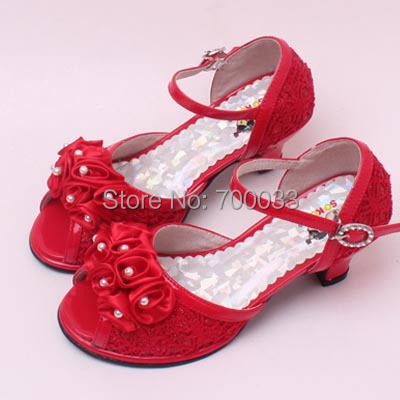 Glitter Lace Flowers Kids High Heel Sandals Children Dressy Shoes ...