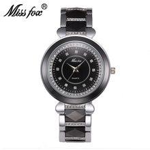 63167df6424 Senhorita Fox Marca Cerâmica Branca Pulseira Relógios Para As Mulheres Se  Vestem de Diamante Meninas Resistente À Água Relógio d.