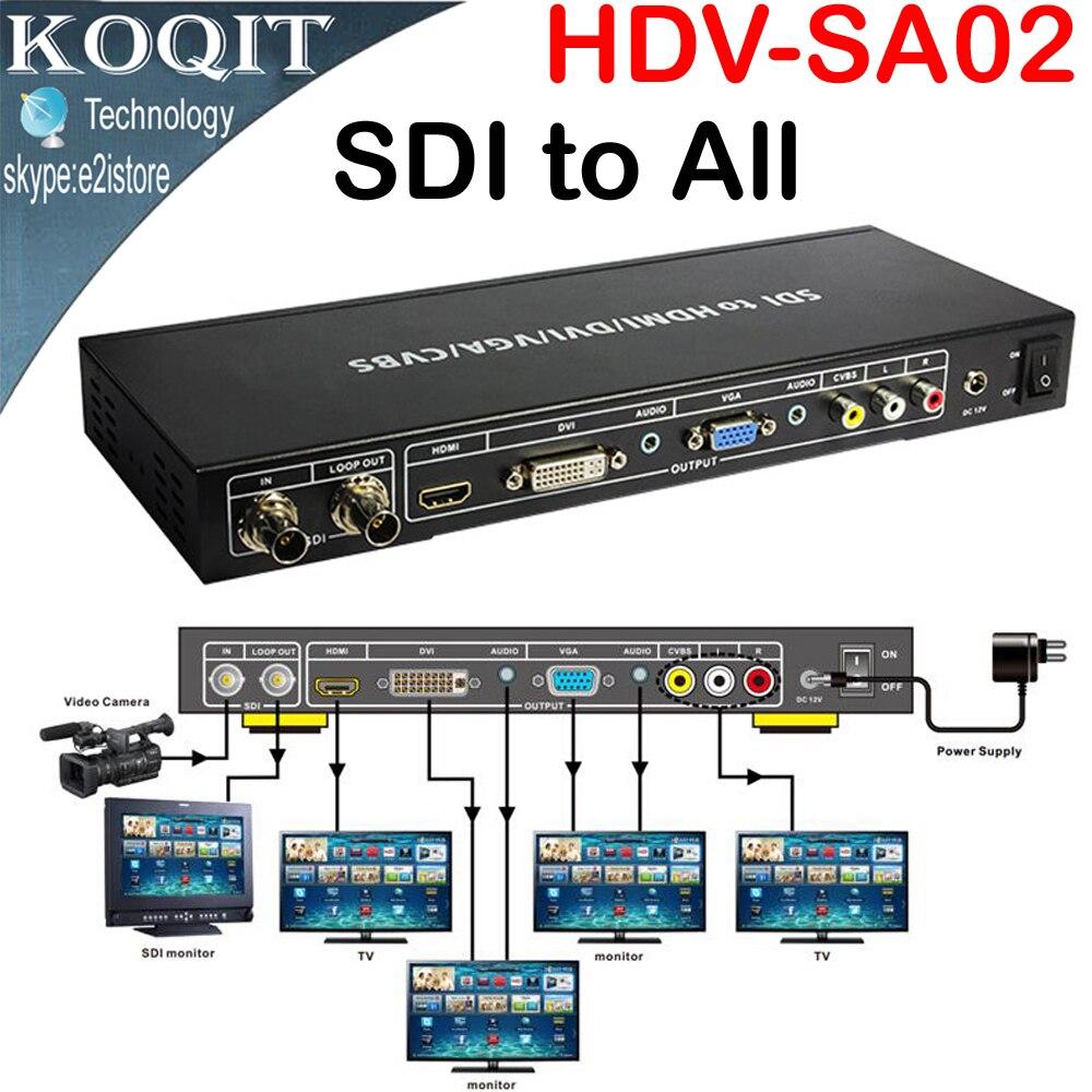 SDI to ALL Scaler Converter SD, HD and 3G-SDI With LOOP OUT To HDMI,DVI,VGA,CVBS,Analog Composite Converter Splitter Extender стоимость
