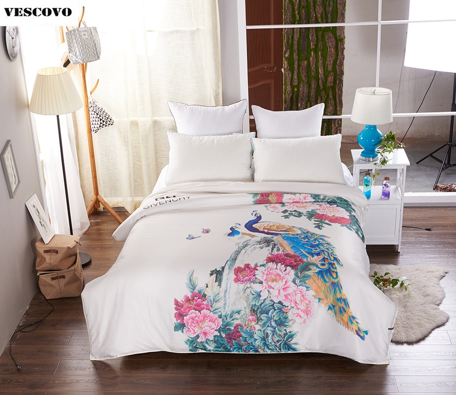 Peacock 3D printing silk comforter summer quilt four seasons blanket washable silk duvet