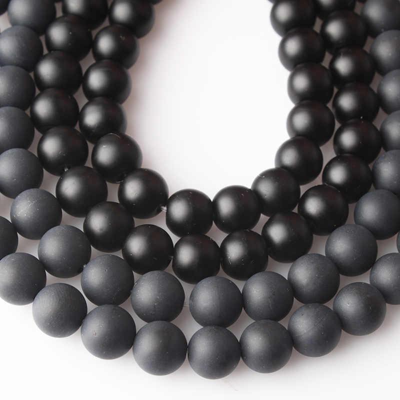 CAMDOE DANLEN الحجر الطبيعي الأسود مملة البولندية ماتي Agates الجزع الصقيع الزجاج الخرز 4 6 8 10 12 14 مللي متر صالح لتقوم بها بنفسك لصنع المجوهرات
