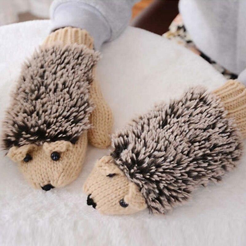 Women's Winter Cute Cartoon Hedgehog Gloves Mittens Knit Crochet Mittens Thicken Warm 2018 New Fashion Soft Gloves For Women