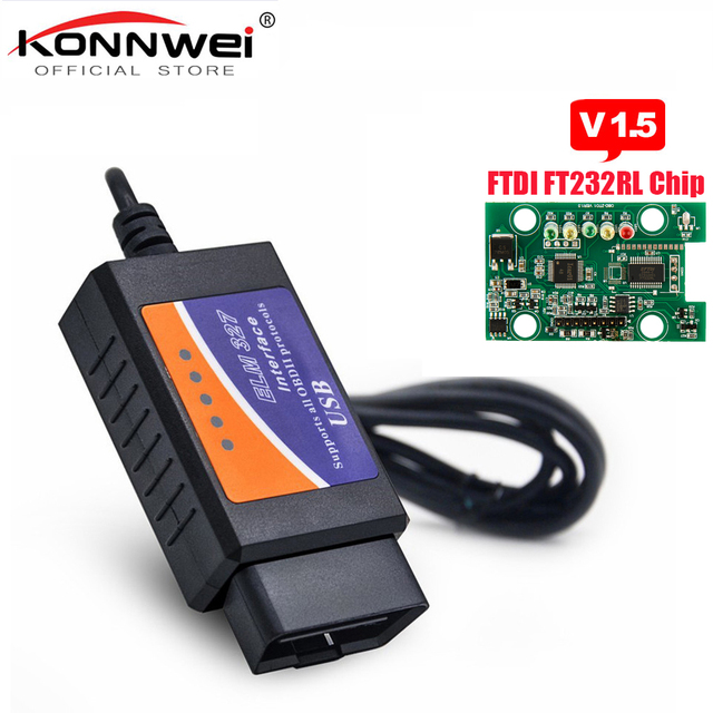 Big Sale ELM327 USB V1.5 OBD2 Car Diagnostic Interface Scanner ELM 327 V 1.5 OBDII Diagnostic Tool ELM-327 OBD 2 obd2 Code Reader Scanner