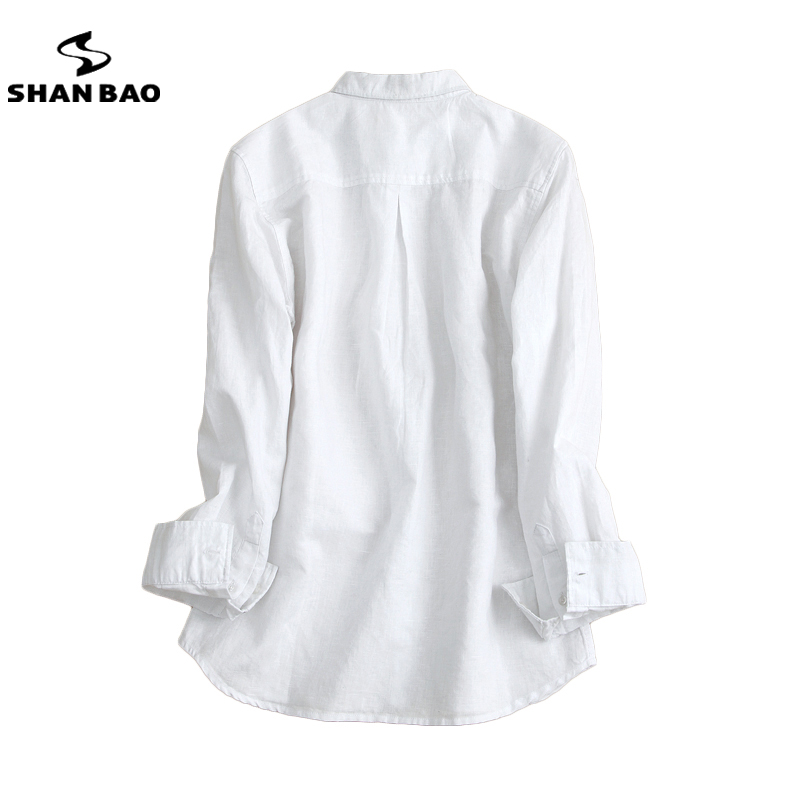 d8ff24ab95581 SHAN BAO men s linen shirt 2017 autumn luxury high quality solid color  casual long sleeved shirt white black light blue-in Casual Shirts from Men s  Clothing ...