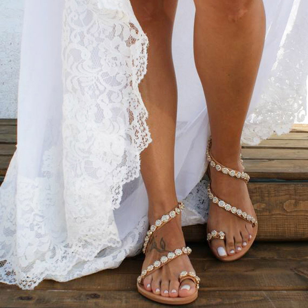 JAYCOSIN Women's Sandals Women's Ladies Summer Solid Flat Crystal Slippers Beach Sandals Roman Shoes Woman #40