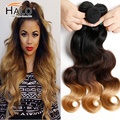 T Hair Ombre Hair Extensions 8A Unprocessed Virgin Brazilian Hair Body Wave 3pcs Cheap Human Hair Weave Bundles 1B 4 27 Color