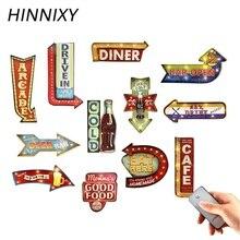 Hinnixy винтажный светодиодный настенный светильник для кофейного бара, Декор, освещение, железное искусство, Route66 Cola, мороженое, дистанционное управление, ночные светильники
