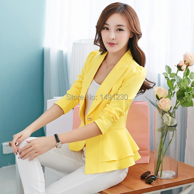 731c2b377 US $14.99 |Blazer women fashion female suits 2015 spring elegant woman suit  jacket white women blazers jackets formal yellow ladies blazer-in Blazers  ...