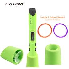 Tritina Geek3 DIY 3D Pen Scribbler Printing with LED Display Screen + Pack of 2 Printer Filament for Doodle,Art,drawing,Creation