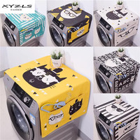 XYZLS Dual purpose Washing Machine Covers Cartoon Cats Printed Refrigerator Cotton Linen Dust Cover with Storage Bag 1Piece