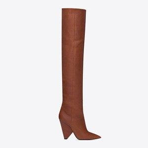 Image 4 - BuonoScarpe להחליק על הברך גבוהה מגפי 2019 קונוס עקבים קפלים אופנה נשים מגפיים גבוהה עקבים גבירותיי מותג עיצוב נעלי אביר נעל