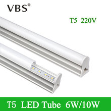 1Pcs LED Tube T5 Light 220V T5 Tube Lamps LED Fluorescent Tube LED 6W 10W Warm/Cold White Light PVC Plastic Led Bulbs Tubes(China)