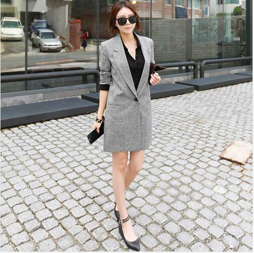 2019 Hot Selling Spring Women Casual Long Thin Blazers Coats Notched Collar Full Sleeve Single Button Fashion Cardigans Y99 in Blazers from Women 39 s Clothing