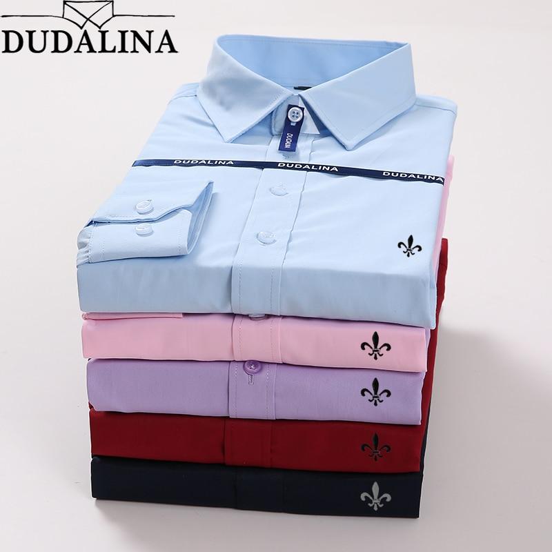 Homen Camisa Masculina Dudalina Plus Size Masculino de Manga Comprida Blusa De Frio do Sexo Masculino Masculina Sociais Slim Fit