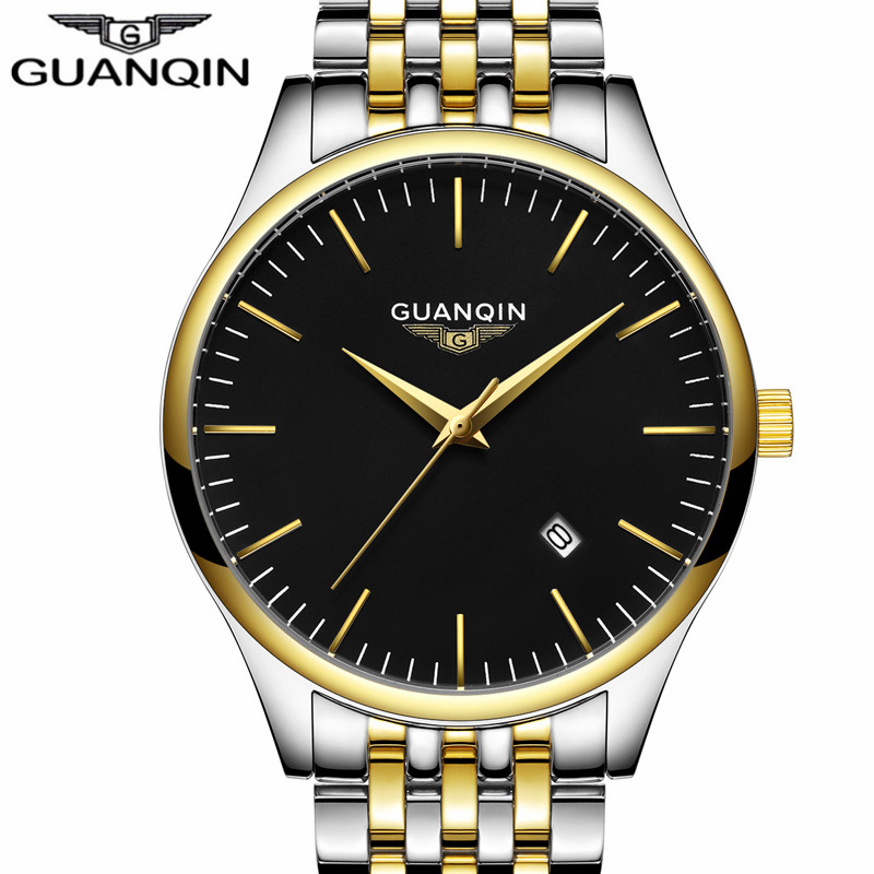 ФОТО relogio masculino GUANQIN Watch Men Fashion simple Style Business Wristwatch Gold Stainless Steel Mens Sport Quartz Watch clock