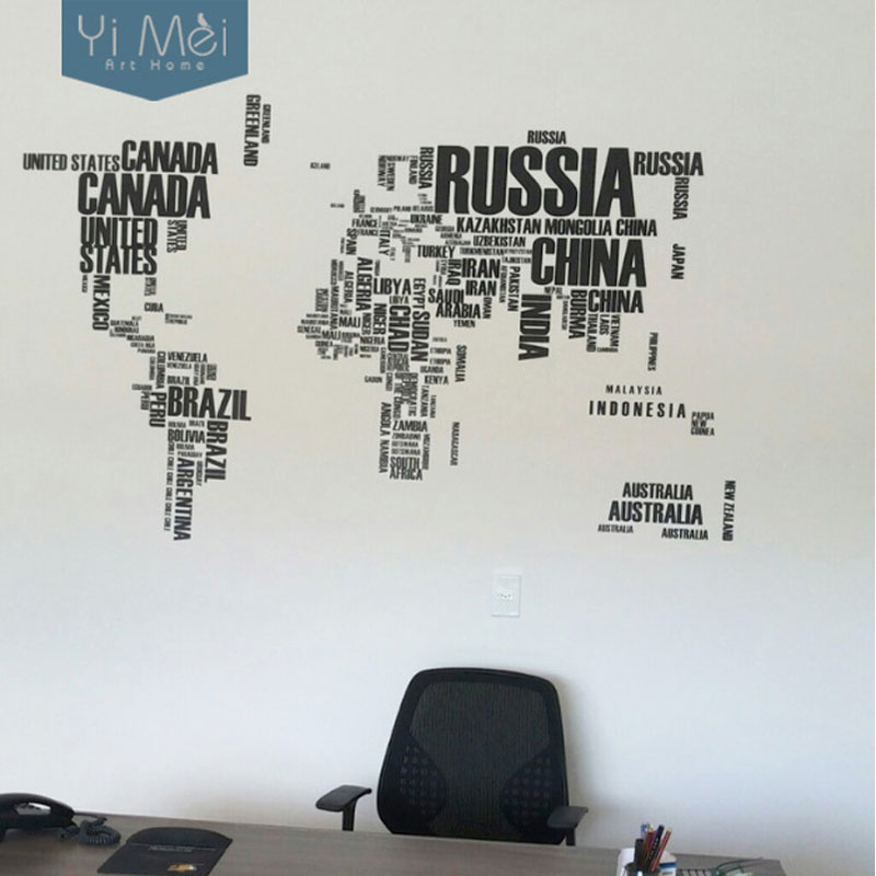 World Map With Country Names Decal Large