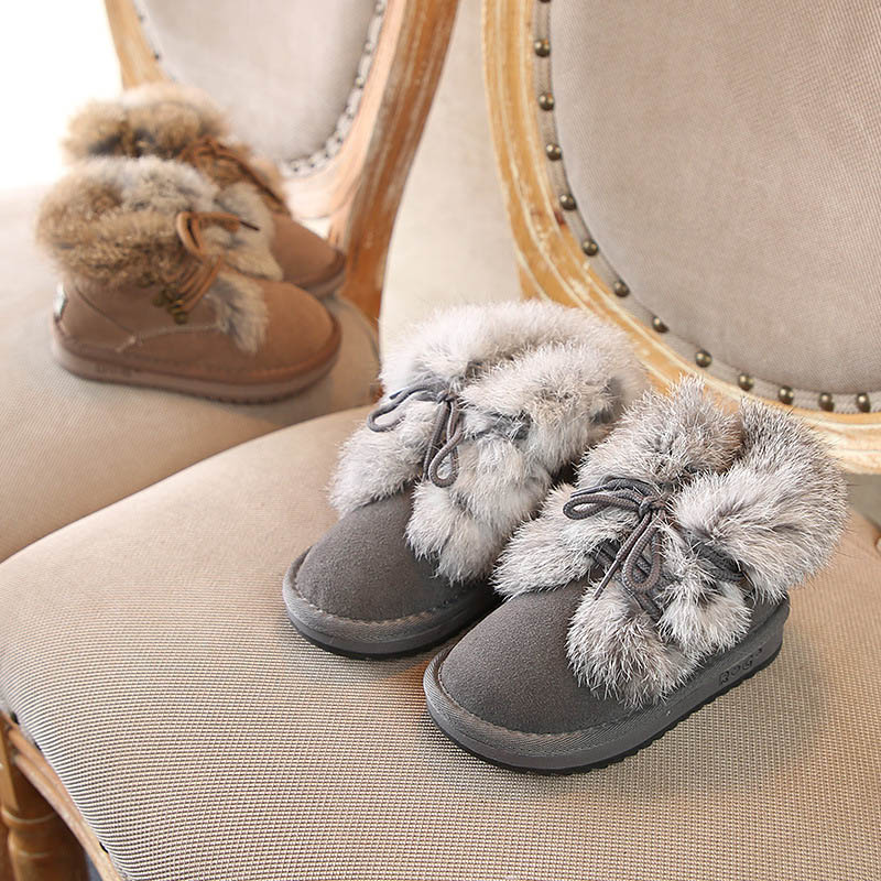 Luxury Little Kids Genuine Leather Boots Soft Thick Keep Warm Rabbit Fur Boys Girls Snow Boots Children Casual Winter Shoes 59