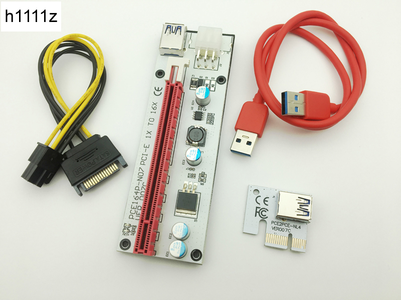 New 3in1 VER007C 60CM PCI-E Riser Card with 4pin 6pin Sata Molex Power PCIe 1x to 16x Ex ...