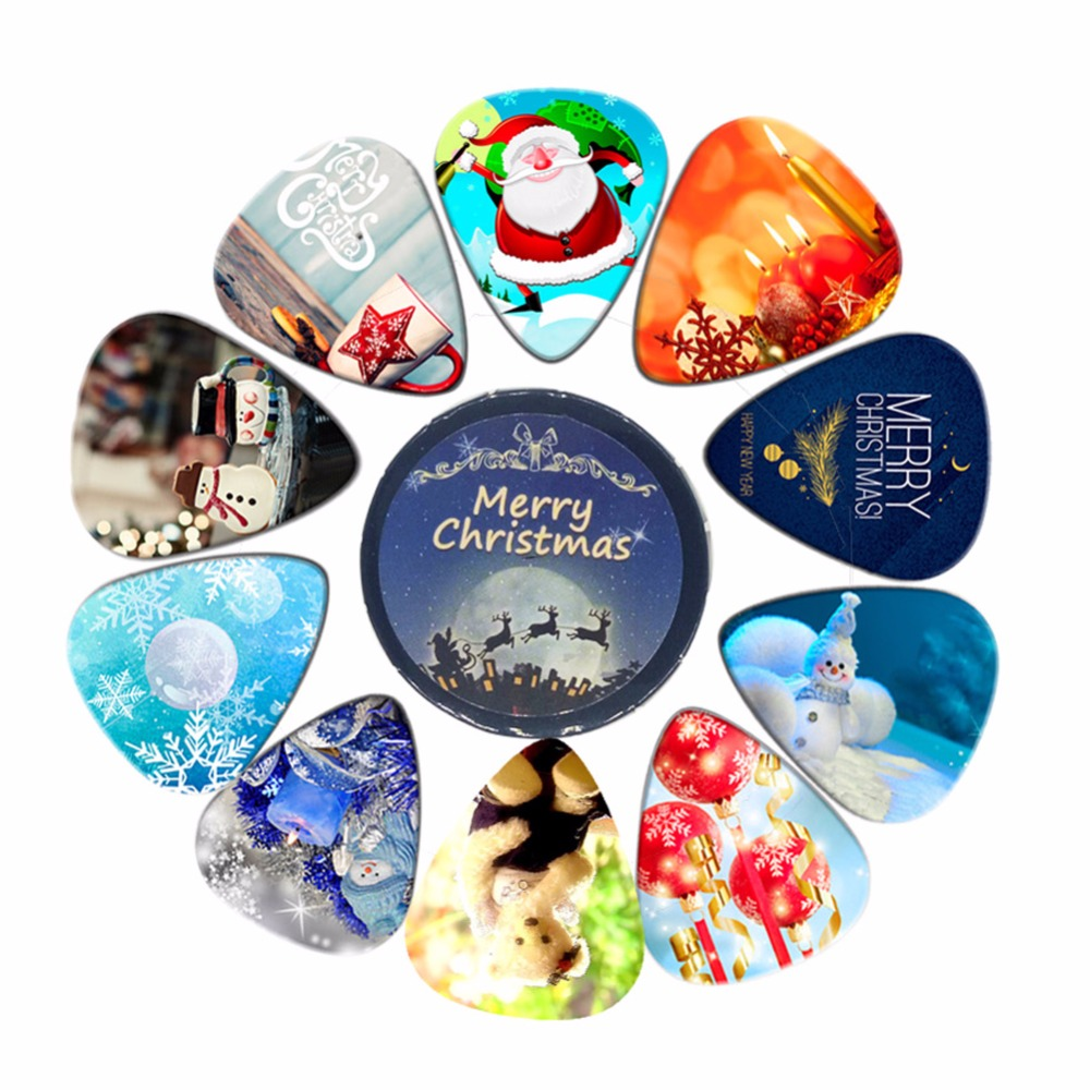 New arrival great chrismas Santa Claus gift guitar pick plectrum 10pcs with a mini tin box