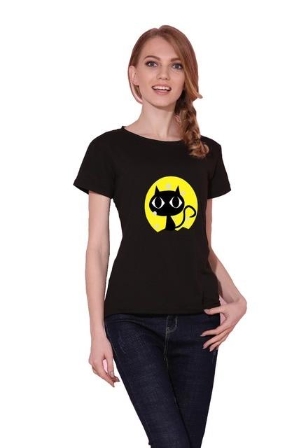 Dandeqi Naughty Black Cat 3D T shirt Women Lovely Shirt Good Quality Comfortable Brand Shirts Soft Tops