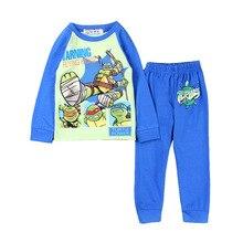 Two Piece Cartoon Suit Mutant Ninja Turtles Blouse Shirt Tops+Pants Pajamas Pyjamas Boys Clothing Sleepwear For Baby Boy