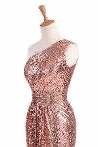 Image 5 - Świecące sukienki druhen długie cekiny 2020 różowe złoto wino czerwone niebieskie jedno ramię kolorowe Vestidos De Madrinha De Casamento