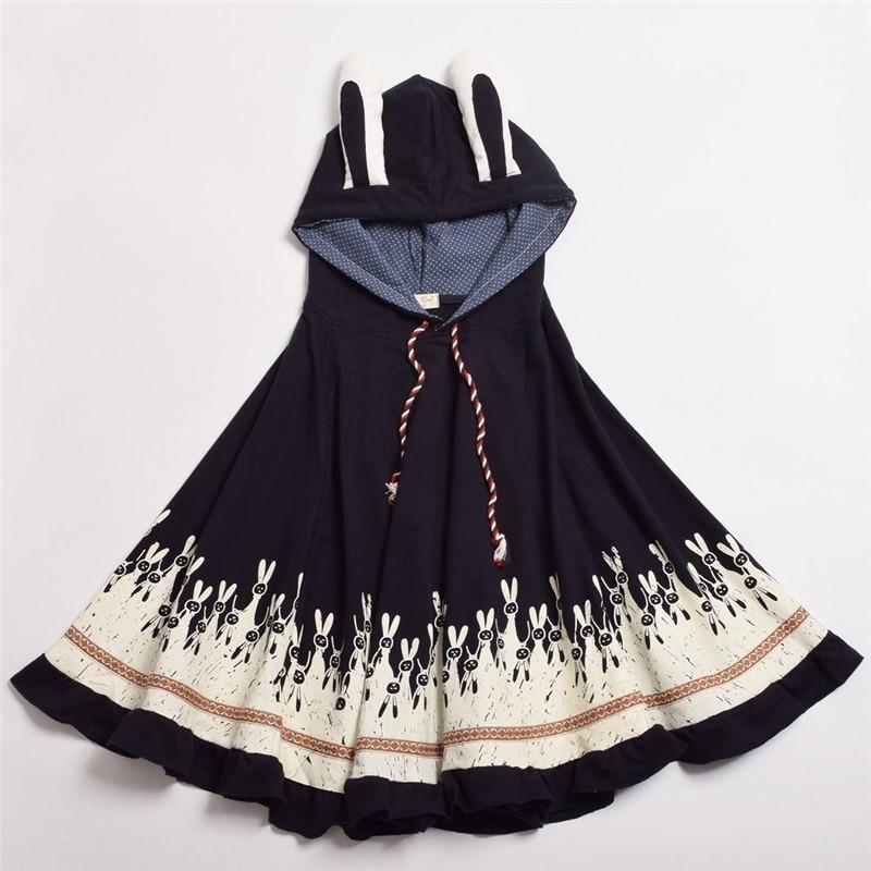Takerlama 1pc Lolita Girls Rabbit Ears Hoodie Loose Kawaii Cape Spring Fall Coat Cotton Casual Cloak Outerwear 3