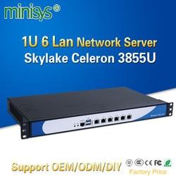 Minisys 19 Inch 1U Rack Server Intel Skylake Celeron 3855U Dual Core Firewall PC Barebone Systeem 6 Lan Ondersteuning AES-NI pfsense
