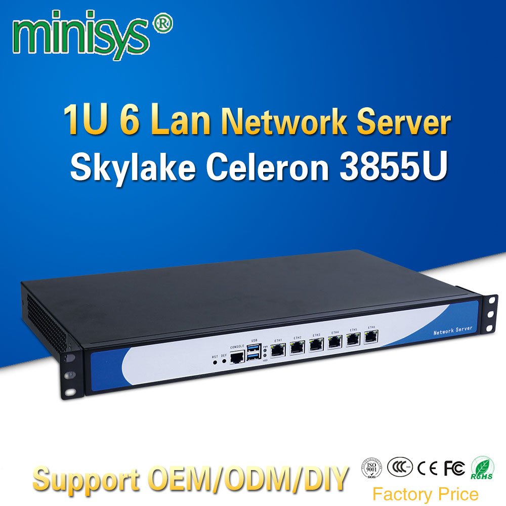 Minisys 19 Inch 1U Rack Server Intel Skylake Celeron 3855U Dual Core Firewall PC Barebone System 6 Lan Support AES-NI pfsense intel server system r1304sposhbn 1u rack system with s1200spo board and 4 x 3 5 hot swapable hdd drive cage 350w fixed power supply