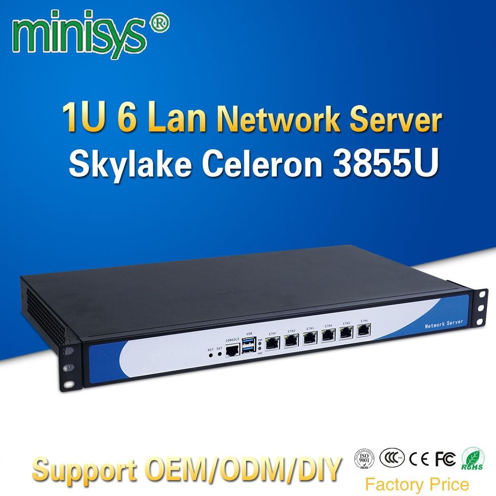 Minisys 19 Inch 1U Rack Server Intel Skylake Celeron 3855U Dual Core Firewall PC Barebone System 6 Lan Support AES-NI Pfsense