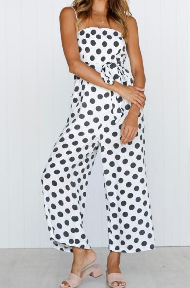 Womens Retro Sleeveless Strapless Sling Polka Dot Long Casual Party Jumpsuit
