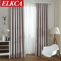 Solid Color Linen Modern Curtains For Living Room Full Shade Blackout Curtains Window Blinds American Style