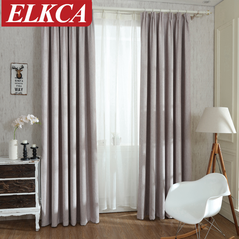 Solid Colors Blackout Curtains For The Bedroom Faux Linen Modern Living Room Window