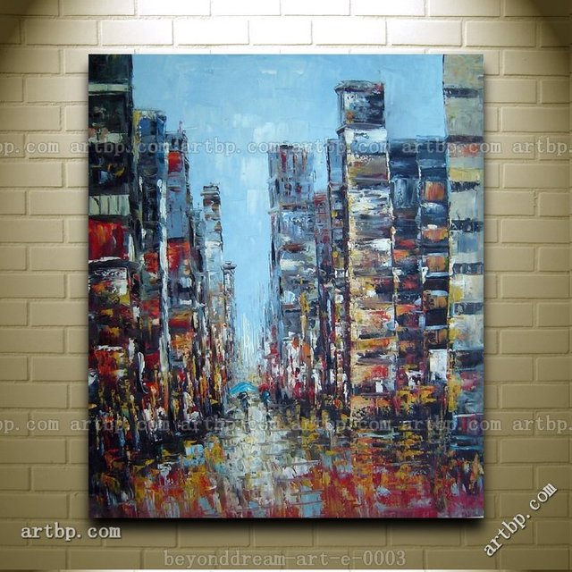 Popular Modern Artists large city skyscraper in a modern setting oil painting