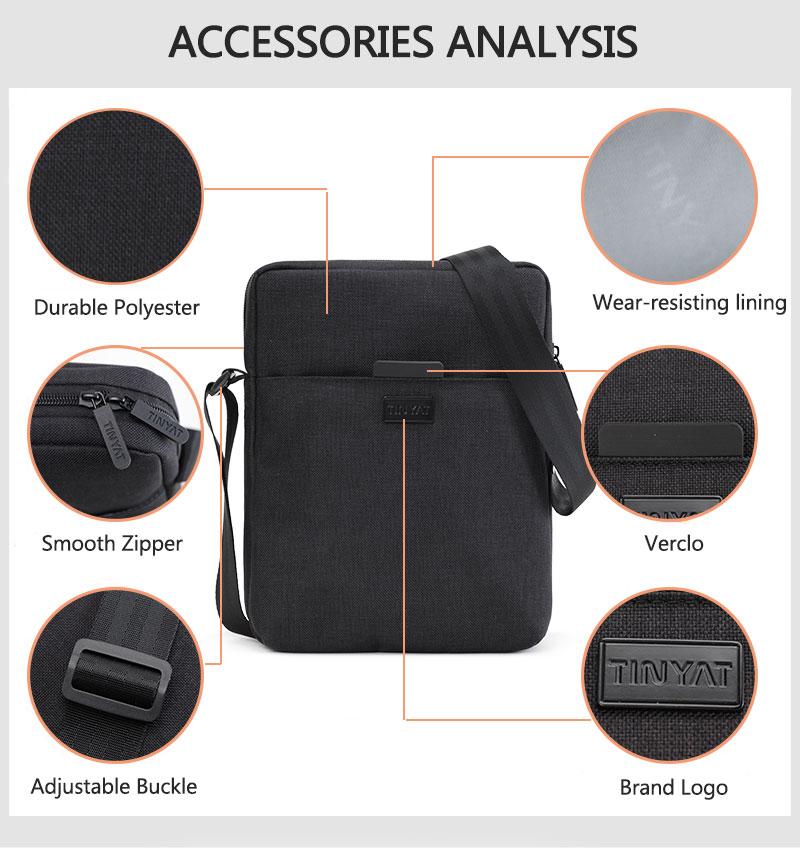 TINYAT Light Canvas Men's Shoulder Bag For 7.9' Ipad Casual Crossbody Bag Waterproof Business Shoulder bag for men 0.13kg 7