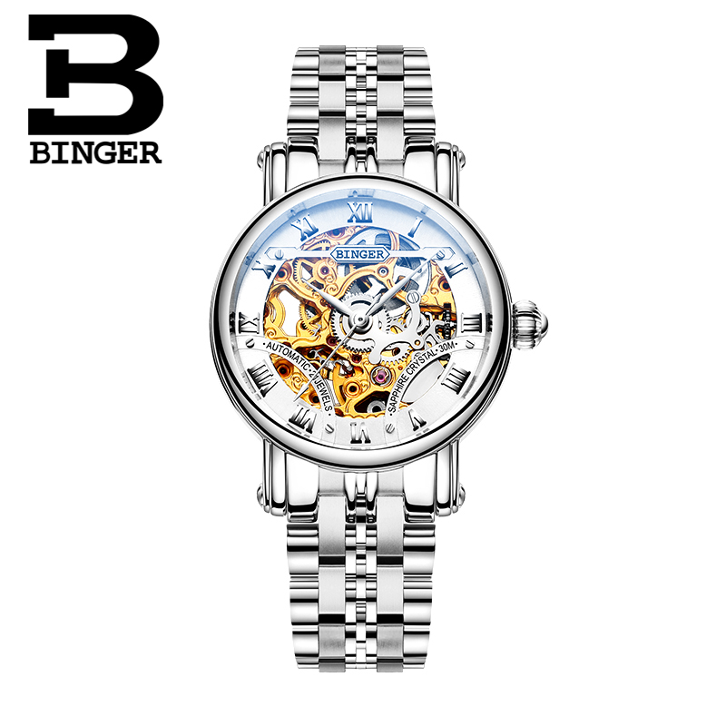 Switzerland luxury Women's watches BINGER brand Hollow Out Mechanical Wristwatches sapphire full stainless steel clock B-5066L6