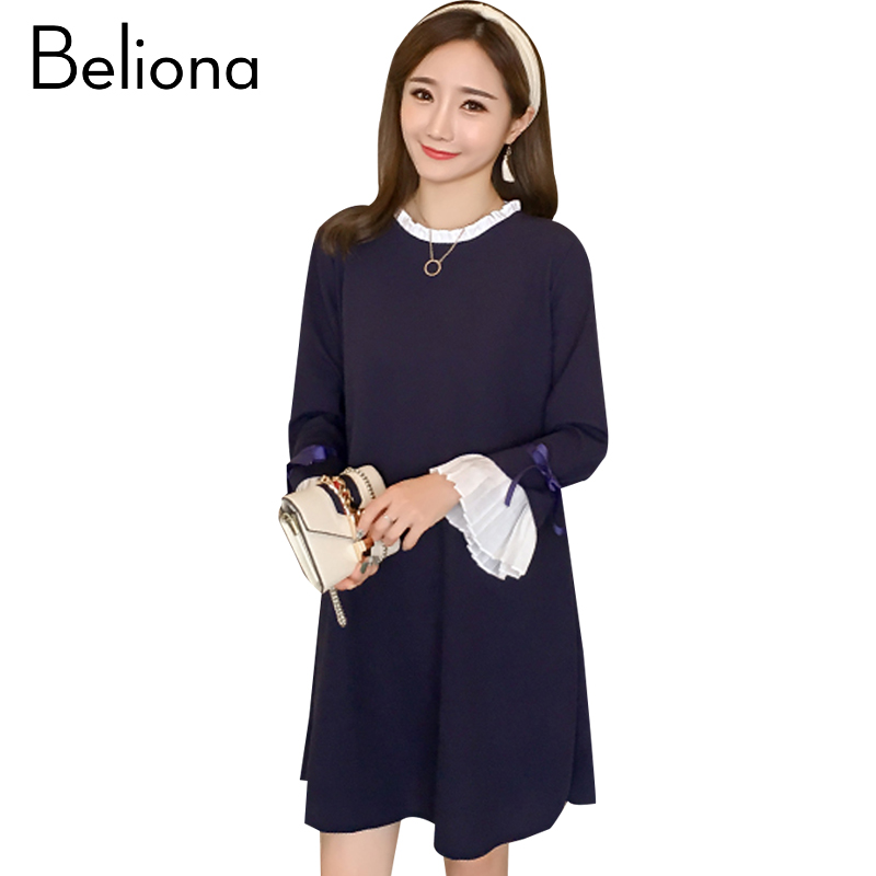 Solid Maternity Dress Formal Pregnancy Clothes Fashion Long Sleeve Maternity Clothing Of Pregnant Women Autumn Vestidos