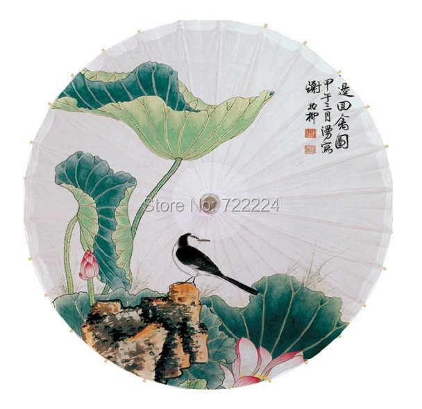 Free shipping Dia 84cm lotus with bird picture chinese traditional handmade waterproof dance decoration oiled paper umbrella