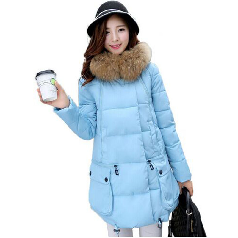 18cm Real Fur 2016 Winter Jacket Women Large Real Raccoon Fur Collar Female Thickening Warm Coat Cotton Down Jackets And Coats