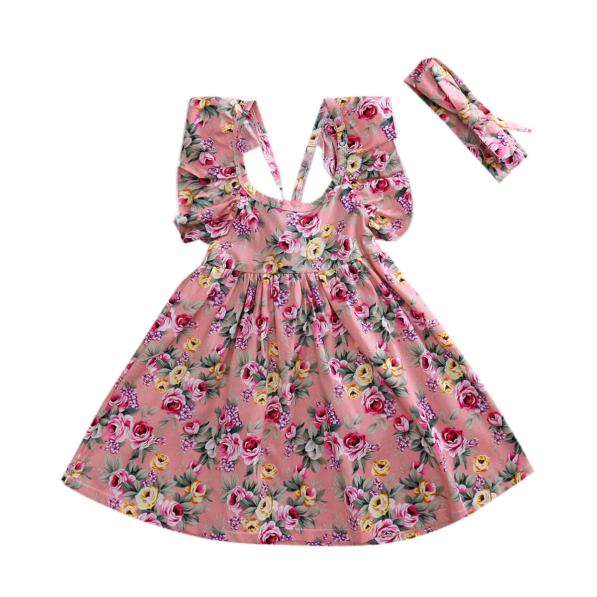 2017 New Summer Girls Floral Dress Ruffles Children Kids Backless Party Dresses +Headband 2PCS Sundress Flower Clothes 1-6 Years кровать из массива дерева xuan elegance furniture
