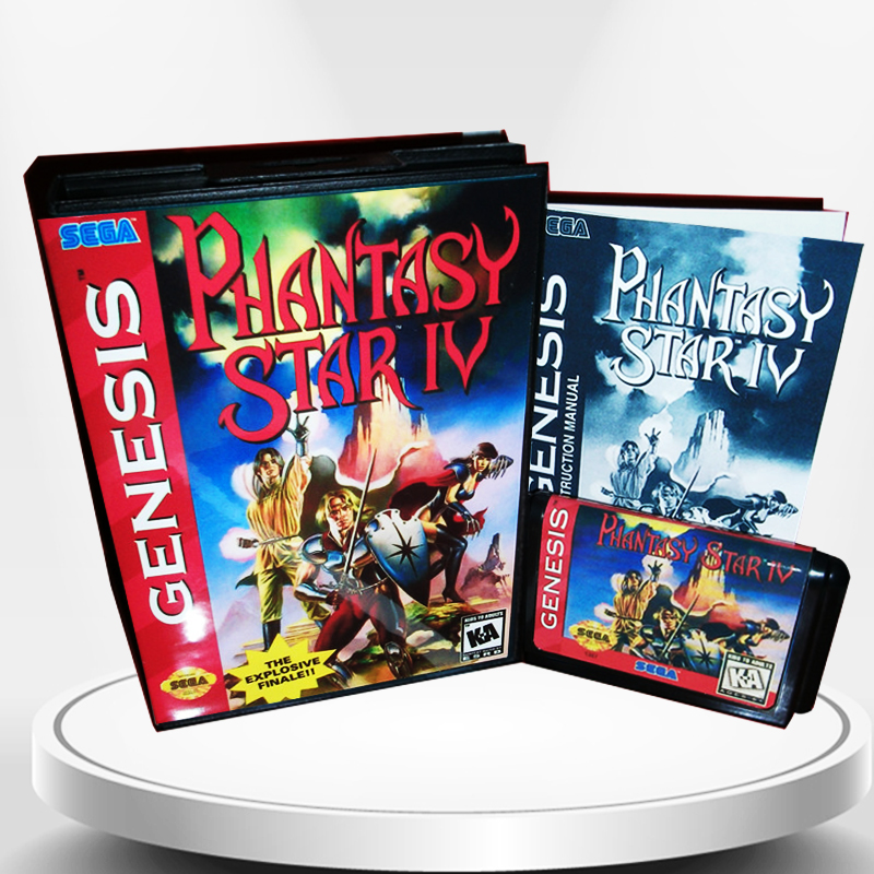 Phantasy Star 4 US Cover with Box and Manual for MD MegaDrive Genesis Video Game Console 16 bit MD card