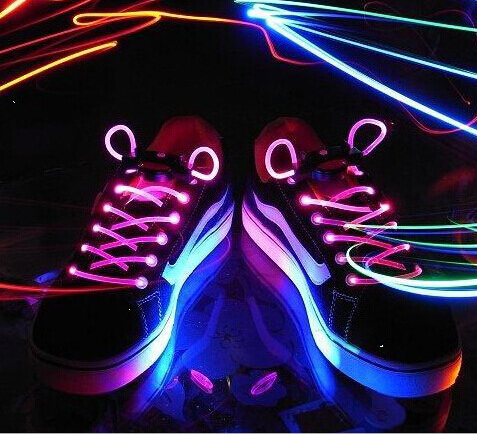 5 Set Hot Cool Fashion LED Shoelaces Shoe Laces Flash Light Up Glow Stick Strap Flat Shoelaces Disco Party for Shoe Accessories ...