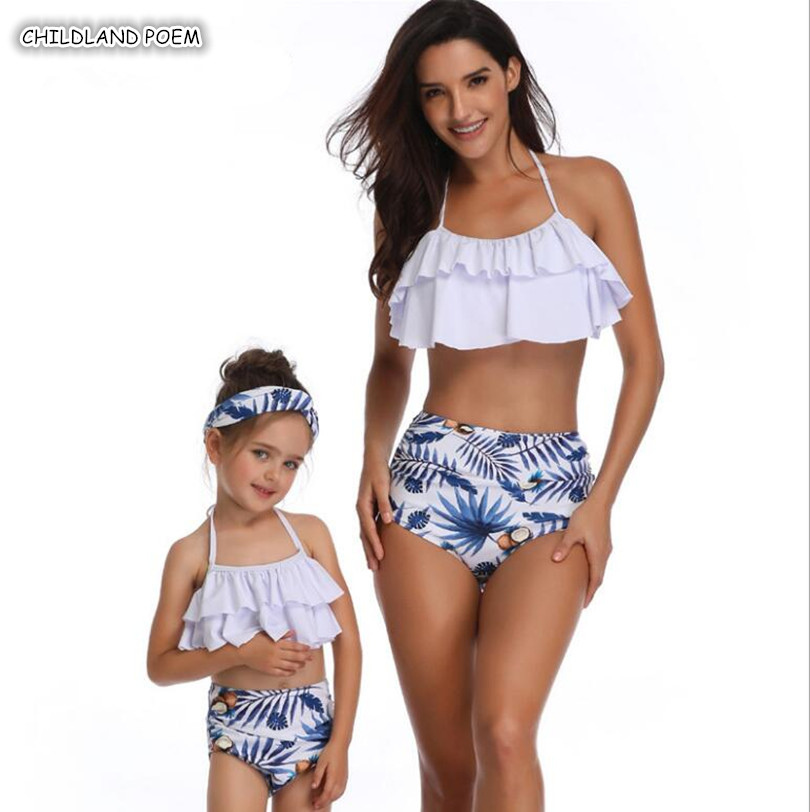 Mother Daughter Swimsuit 2019 Family Look Mommy and Me Bikini Clothes Ruffle Mom Daughter Swimwear Family Matching Clothes caterham 7 csr
