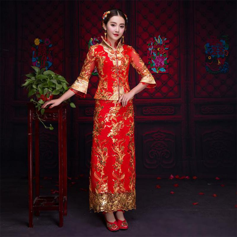 Plus Size S 3XL Asian Bridal Qipao Red Traditional Chinese Women Half Sleeve Cheongsam Ancient Wedding