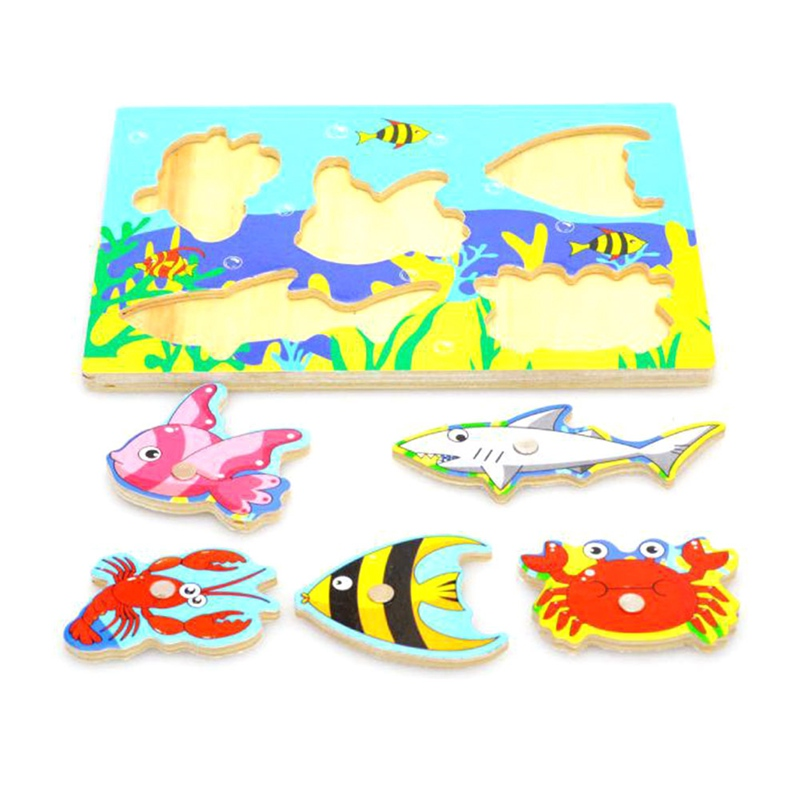 New Wooden Magnetic 3D Jigsaw Children Educational Fishing Puzzles Baby Toys Funny Game For Kids Gifts